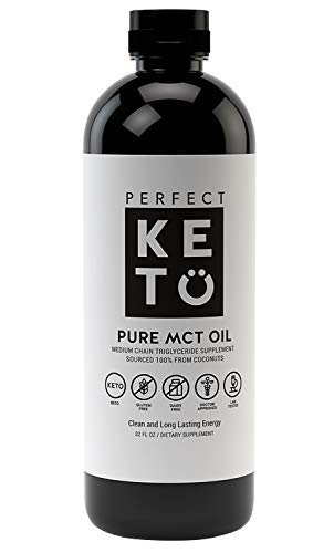 Perfect Keto Rapid Energy Pure MCT Oil: Ketogenic Coffee Coconut Oil Creamer 32oz Supplement. 100% Pure MCT Oil For Sale