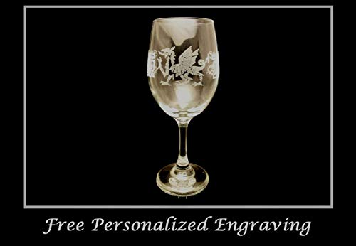 Celtic Welsh Dragon Clear Wine Glass - Free Personalized Engraving