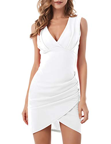 ANGGREK Women's Classy V Neck Sleeveless Sexy Wrap Bodycon Cocktail Dress Mini White XL