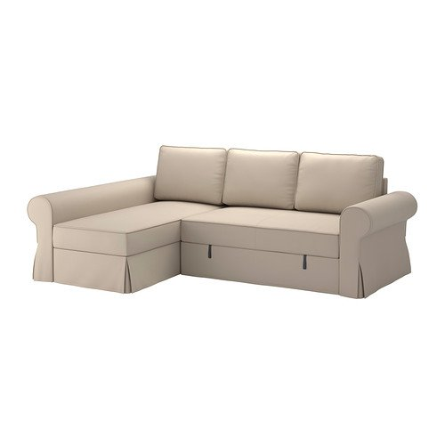 IKEA BACKABRO Cover sofa bed with chaise longue Ramna beige