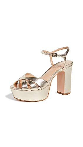 SCHUTZ Women's Keefa Platform Sandals, Platina, Metallic, Gold, 9 M US ()