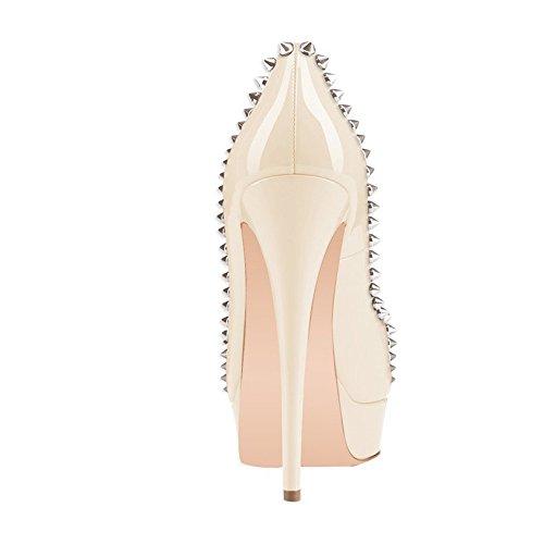 zapatos de Arc-en-Ciel remache de las mujeres bombas de la plataforma del peep toe de tacón alto Beige
