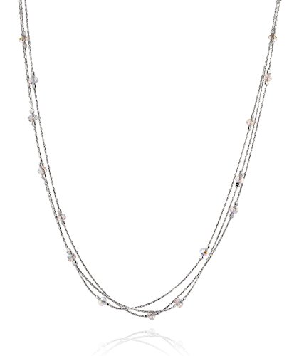 "Triple Strand 925 Sterling Silver Necklace Made with Original Swarovski Crystals, 18"" + 4"" Extender"