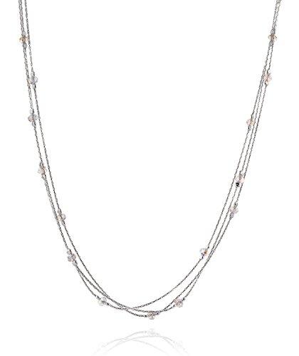 - Triple Strand 925 Sterling Silver Necklace Made with Original Swarovski Crystals, 18
