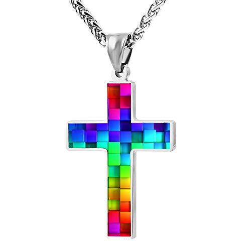 KOUY Christian Cross Pendant Necklace,Rainbow Cube Religious Jewelry for Men and Women (24 in)