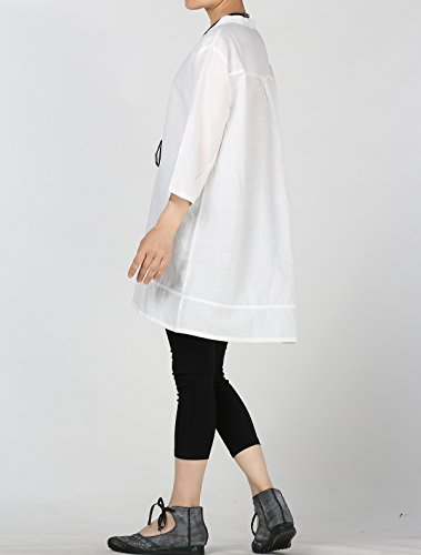 Femme Lin Blanc Simple Ample Tunique Mallimoda V Blouse Col Haut Dcontract SIwIf