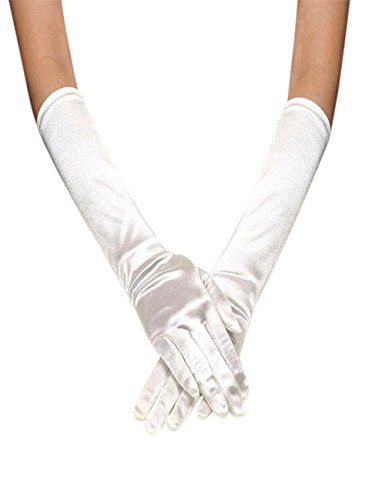 Dreaman Comfortable Fashion Womens Satin Long Gloves Opera Wedding Bridal Evening Party Prom Gloves (White)