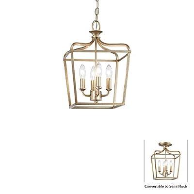 Minka Lavery Ceiling Pendant Chandelier Lighting 4445-582 Laurel Estate, 4-Light Fixture 240 Watts, Brio Gold