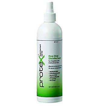 EPA approved - Protex Disinfectant Spray Bottle, 12 oz. Efective against MRSA, E-coli, influenza, H1N1, Herpes, HBV, VISA, VRE, HCV, HIV.