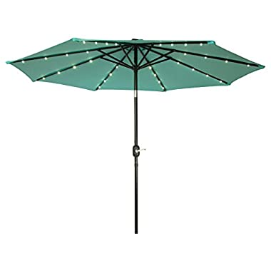 Trademark Innovations Deluxe Solar Powered LED Lighted Patio Umbrellas, 9', Teal