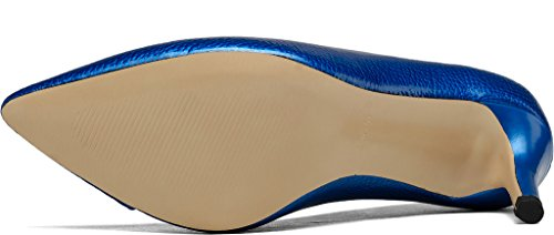 Calaier Women Jtabf Pointed-Toe 7CM Stiletto Slip-on Court Shoes Blue NlyfR3nbY