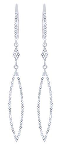 Rount Cut White Natural Diamond Open Arrow-Stiletto Dangle Earring in 14K White Gold (0.35 Cttw)