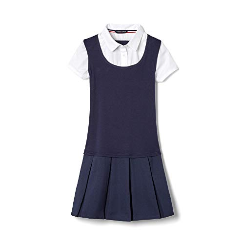 French Toast Big Girls' Twofer Pleated Dress, Navy, 7