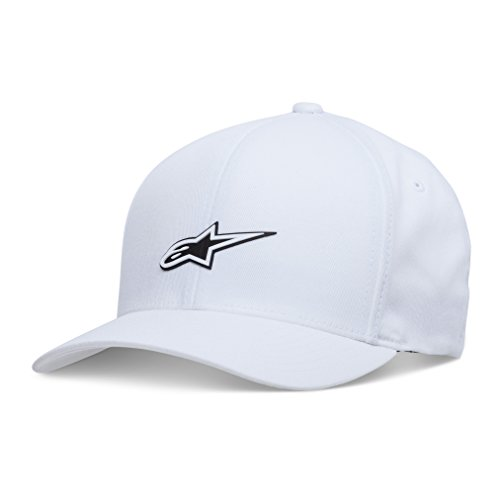 Alpinestars Men's Curved Bill Structured Crown Flex Back Layered Sonic Weld Logo Flexfit Hat, Form White, L/XL