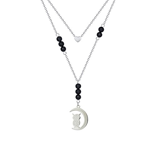 Single Heart Owl Lava Rock Necklace - Silver Stainless Steel Double Layer Minimalist Personalized Sparkly Crescent Moon Essential Oils Diffuser Lava Aromatherapy Small Loving Heart Necklace for (Loving Heart Necklace)