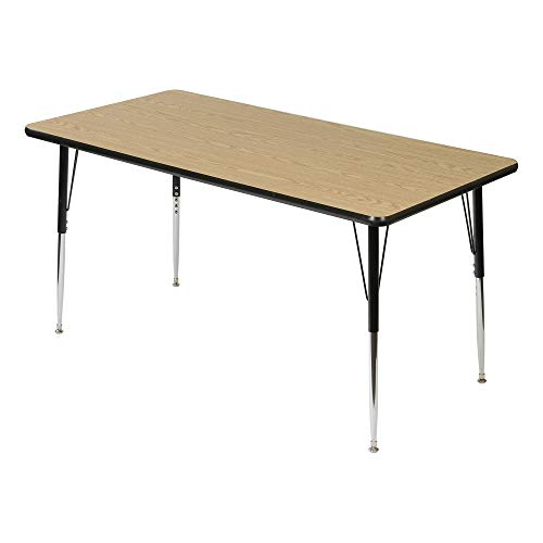 "Rectangle Adjustable Height School Classroom Activity Table (30"" W x 60"" L) - Oak Top/Black Edge"