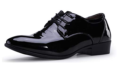 ZZHAP Mens Tuxedo Shoes Wedding Formal Dress Patent Leather Shoes Black-03 US 7