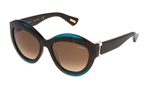 Lunettes de Soleil Lanvin SLN677S SHINY BLACK TRANSPARENT BLUE/DARK BROWN femme