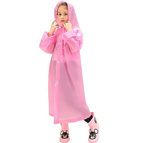 Kids Rain Poncho,Reusable Kids Rain Coat for 6-11 Years Old