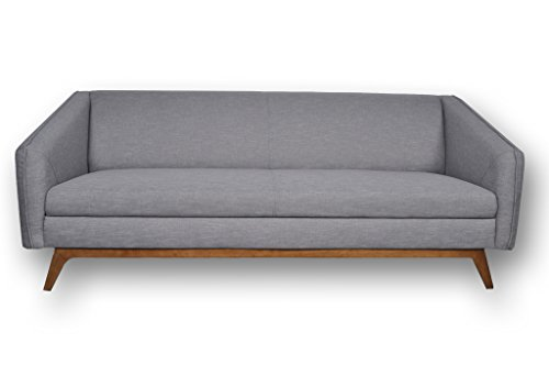 Mid Century Modern Linen Blend Fabric Celine Sofa, Contemporary Grey 3 Seater ✮ FREE Shipping ✮ Comfortable Sleek Seats ✮ Very Minimal Assembly – Wood Legs ✮ Satisfaction Guarantee ✮ 1 Year Warranty
