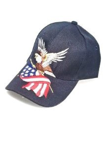 U.S.A. American Flag & Eagle Hats Baseball Cap Assorted Color Hat 3D Embroidery (Navy)
