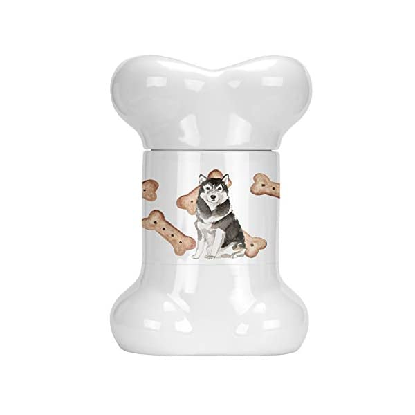 Caroline's Treasures CK2322BSTJ Alaskan Malamute Bone Shaped Treat Jar, multicolor 1