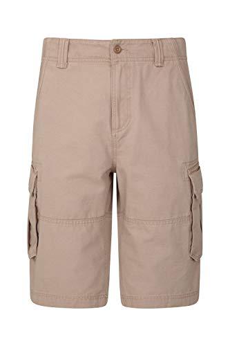 Mountain Warehouse Heavy Duty Mens Cargo Shorts - Summer Hiking Pants Beige 40