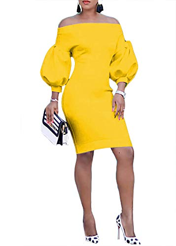 (Ophestin Women Puff 3/4 Sleeve Off The Shoulder Bodycon Knee Length Party Pencil Midi Dress Yellow S)
