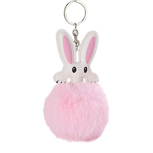 Bravetoshop 8CM Cute Rabbit Ear Fur Ball Keychain Pendant Women Bag Key Ring Holder Pompoms Gift Easter(Pink,) from Bravetoshop