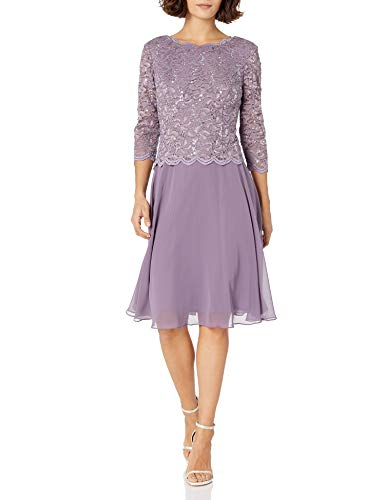 Alex Evenings Women's Sequin Lace Mock Dress (Petite and Regular), ICY Orchid, 6