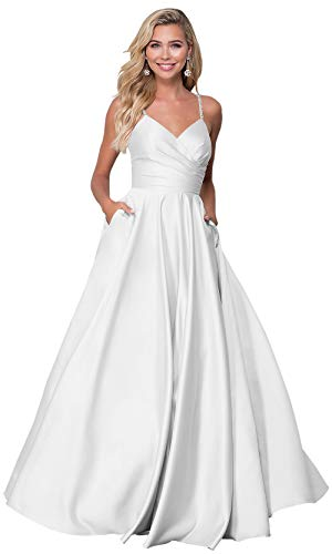 Zhongde Women's Open Back Beaded Spaghetti Strap V Neck Wedding Party Dress Long Prom Dresses White Size 2 ()