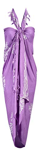 LuluVin Womens Sarong Pareo Swimwear Beach Wrap Cover Up (Lavender with Reefs) (Sarong Dress)