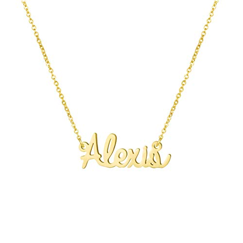 Yiyang Birthday Gift for Girls Personalized Name Necklace 18K Gold Plated Stainless Steel Jewelry Alexis ()