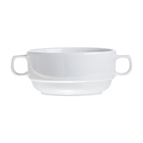 Stackable Soup/Cereal BOWLS with Handles (4-piece, 6-piece, 12-piece Sets), 10.8 Oz, White Porcelain, Restaurant&Hotel Quality (6) by Smart And Cozy (Image #1)