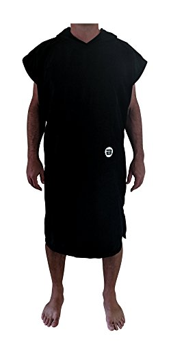 BESTA Surf Poncho, Wetsuit Changing Robe/Towel with Hood and Front Pocket. Thick Microfiber Material (Black, -