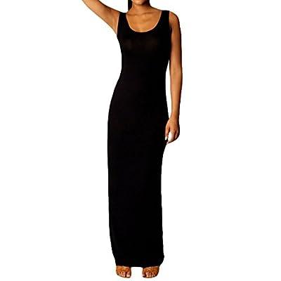 FOUNDO Womens Sleeveless Solid Vest Tank Long Maxi Dresses