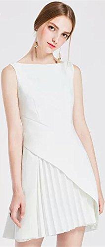 ZHUDJ Collar Vestido Bustier _ Otoño Damas Collar Sólido Femenino Vestido Bustier Slim Slim Años white