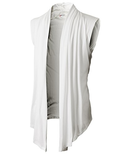 H2H Men's Shawl Collar Sleeveless Cardigan No Button WHITE US M/Asia L (KMOCASL01) by H2H