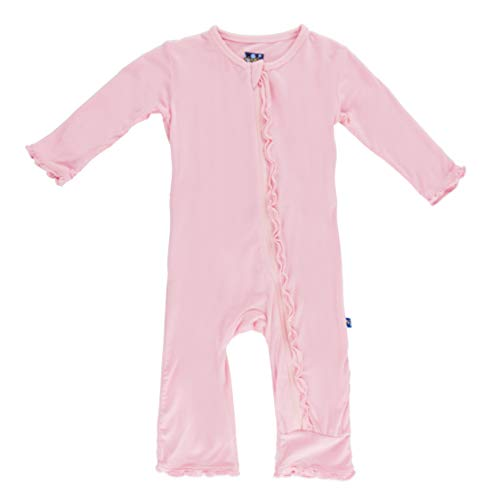 - Kickee Pants Little Girls Basic Muffin Ruffle Coverall (Zipper) - Lotus, 6-9 Months