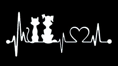 (Bluegrass Decals Dog Cat My Kids Heartbeat Lifeline Monitor Decal Sticker (White, 7.5