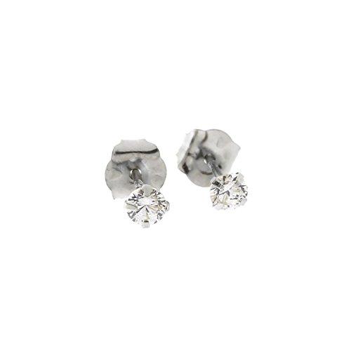 14k White Gold Cubic Zirconia Stud Earrings, 2.50 Millimeters (0.12ctw) ()