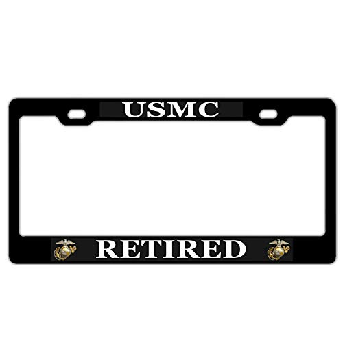 USMC Marines Retired License Plate Frame, US License Plate Cover for Front or Back License Tag, Aluminum Metal Auto Car Truck Plate Frame