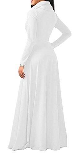 Del Lungo Di Colore Cromoncent Vestito Bianco Maxi Solido Di Elegante Cotone Donne Collo Alto Manicotto Bv8qa