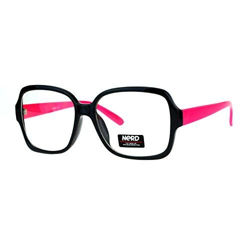 Nerd Eyewear Clear Lens Glasses Square Frame Hipster Eyeglasses Black - Glasses Original Nerd