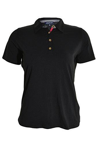 Jones New York Signature Womens Short Sleeve Polo Shirt, Black, Small (New Signature York Jones)