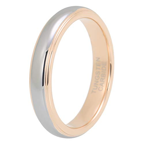iTungsten 4mm Rose Gold Tungsten Rings for Women Men Wedding Bands Stepped Edges Domed Polished Shiny Comfort Fit