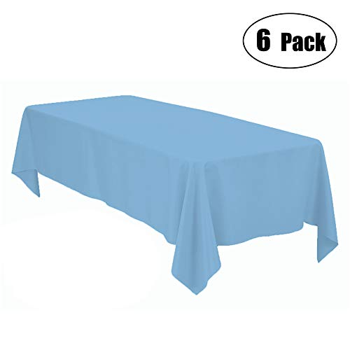 Minel Disposable Party Table Cloths Rectangular 6 Pack Light Blue]()