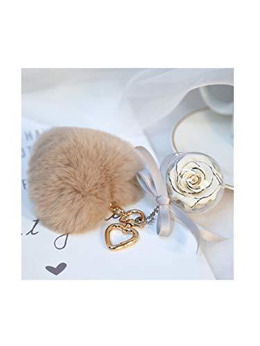 (Smart.A Everlasting Flower Keychain Exquisite Water Mane Pendant (White Citron/Love)