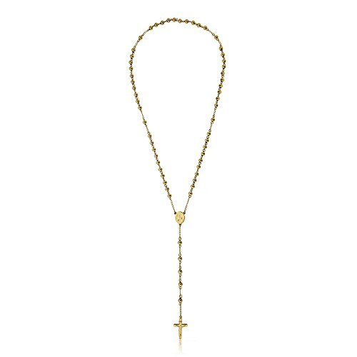 Gem Stone King 28 Inch Gold Plated Stainless Steel Rosary Beads Necklace with Crucifix Cross (Gold Plated Rosary)