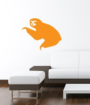 Sloth Wall Art Decal 16&Quot;X13&Quot; Orange -